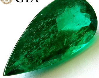 Colombian Emerald 6.6 Ct Green GIA Certified Natural Loose Pear Cut Gemstone