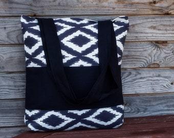 Black and White Tote bag, 100% cotton bag, Grocery Reusable Bag, Eco-friendly Natural Beach Tote