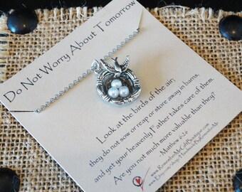 Christian Jewelry, Scripture Jewelry, Christian Jewelry for Women, Message Jewelry,  Don't Worry About Tomorrow, Matthew 6:26