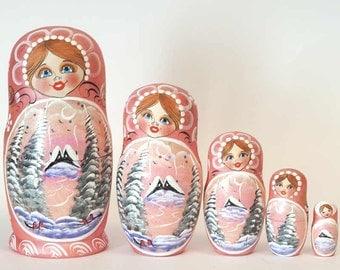 Nesting dolls winter in Russian village country red matryoshka - #2AA
