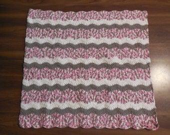 AK Wavy Crochet Baby Pink Brown and Cream Blanket made from Bernat Blanket Yarn