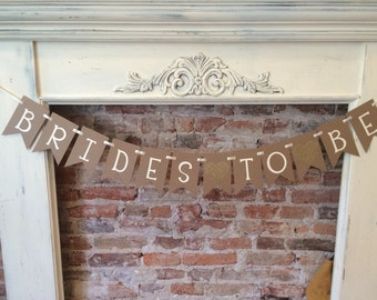 Brides to be shower pennant banner, lesbian wedding, bridal shower decor, gold heart, ribbon, chipboard