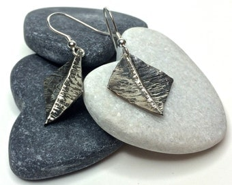 Silver hammered earrings - dainty fold formed and oxidised - 925 Sterling silver