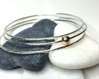 Stacking Bangles sterling silver with 9ct gold ball bead dainty stacked petite minimalist design