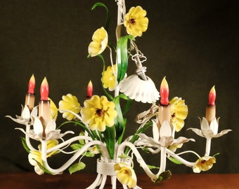 Beautiful 60's Tole Enamel Flower 6 Light Chandelier in like new condition!