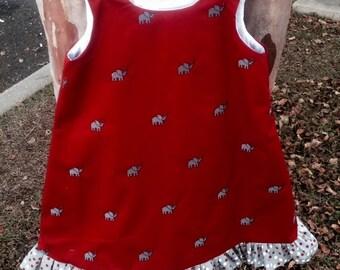 Girls Alabama Gameday Dress with Monogram/ Alabama Dress/ 2T/3T/4T/5T/6T