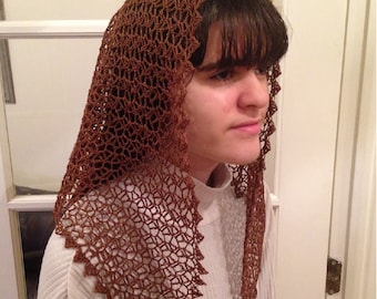 Felicity Motif Crocheted Catholic Chapel Veil in Brown