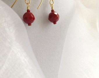 Ruby Red Faceted Opaque Glass Dangle Earrings