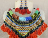 Statement Bib Necklace Choker , African Beaded Necklace , Ethnic Banjara Rabari Gypsy hippie Bohemian Boho Necklace Earring Jewelry set,f313