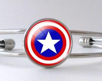 Captain America Shield Avengers Silver Bracelet Cuff