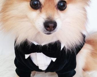 Dog wedding tuxedo, Dog White Shirt with Black Cardigan, ring bearer, XS~4XL, puppy sweater, dog sweater, dog hoodie, dog clothes, dogs suit