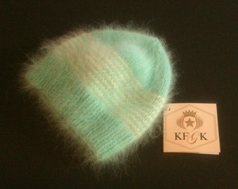 Designer Hand Knitted, Combed French Angora Hat from KFGK for a Baby Girl!