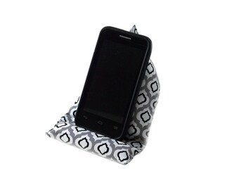 """Cell Phone Stand, 7 1/2"""" X 4 1/2"""" Mobile Phone Holder, Black White Gray Grey, Smartphone Cushion, Triangle Phone Pillow, Prop for Cell Phone"""