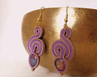 soutaches earrings in lillac and gold with rives pearl