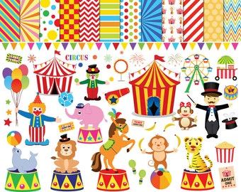 56 Circus clipart , circus clip art ,clowns clipart , circus printable , circus images , lion elephants monkey tiger Ferris wheel clipart