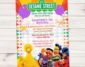 Sesame Street Big Bird Grouch Grover Elmo  Boy or Girl Birthday Party Invitation Contact me for color wording character theme etc changes