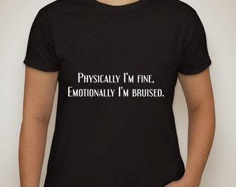 "one direction 1d harry styles ""physically i'm fine, emotionally i'm bruised"" t-shirt"