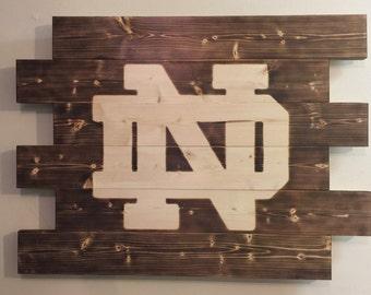 Notre Dame wood sign