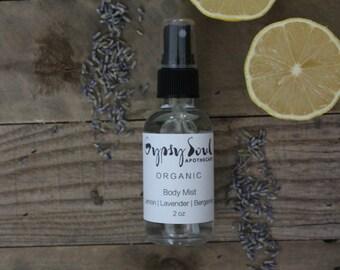 Organic Body Mist- Lemon | Lavender | Bergamot