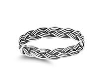Twisted Band Sterling Silver Oxidized 4MM Twisted Design Anniversary Intertwined Ring Size 4-12 Wedding Band Mens And Womens Ring