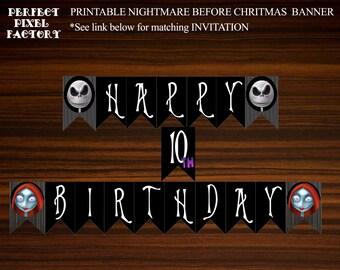Nightmare Before Christmas Banner, Birthday Banner, Jack Skellington,Halloween Banner,Printable Banner,Disney,DIY Banner,PerfectPixelFactory