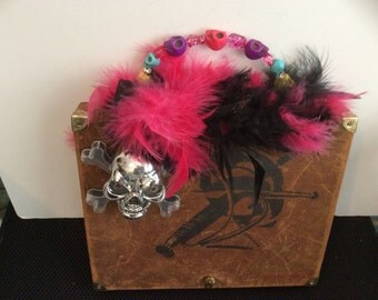 Skull theme suede cigar box purse