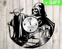 """Star Wars wedding gifts for him Darth Vader Vinyl clock Star Wars Grey S-Interiors """"Darth Vader 5""""!Star Wars vinyl wall clock Star Wars kids"""