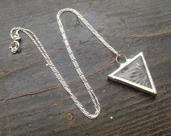 Textured glass triangle pendant