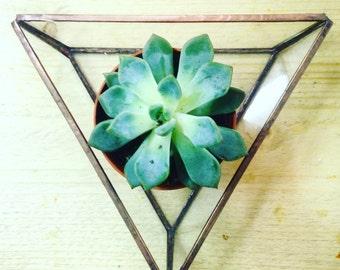 Glass geometric triangle tray
