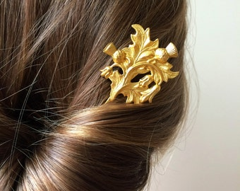 Gold Scottish Outlander Thistle Hair Pin leaf Bobby Pin Bridal Hair Pin Bridal Hair Clip Woodland Wedding Scottish Bridal Hair Accessories