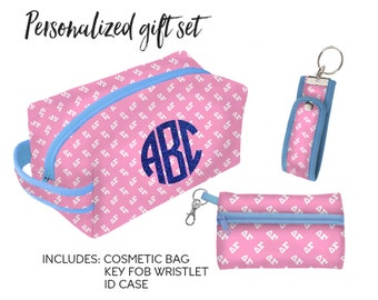 DG Delta Gamma Personalized Gift Set Cosmetic Bag, ID Wristlet and Key Holder