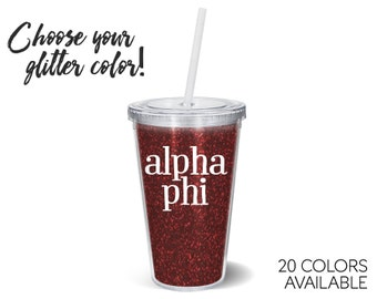 Alpha Phi Glitter Tumbler Choose Your Colors