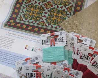 Sajou French Cement Tile Basketweave Needlepoint Tapestry Kit- Lagorce