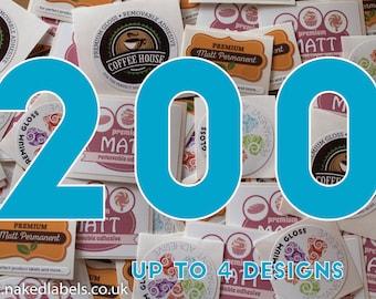 200 - Custom Stickers Square, Circle, Rectangle or Oval Custom Labels - Waterproof Premium Vinyl