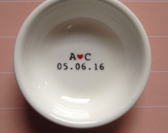 Handpainted personalised ring dish, initials and date