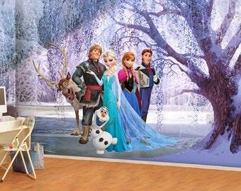 Frozen Mural, Princess Elsa Wallpaper, Wall décor, Nursery and room décor, Wall art, Canvas print