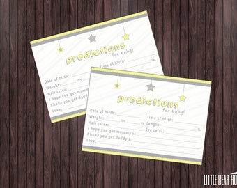 Printable Twinkle Twinkle Little Star Themed Baby Shower Prediction Cards