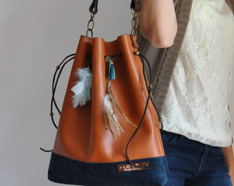 Leather tote bag, women bag, handmade, short handle bag. Leather bag, women bag made by hand, short handle bag
