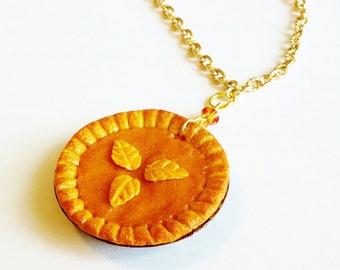 Pumpkin Pie Charm Necklace -  Polymer Clay Food Pumpkin Pie - Miniature Food Jewelry - Thanksgiving Food Jewelry