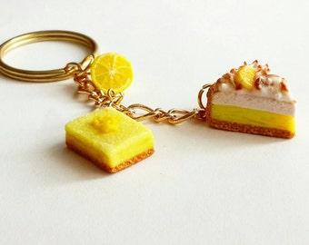Lemon pie key chain - Polymer Clay Food Jewelry - Lemon Meringue Pie - Miniature Food Jewelry Lemon Square