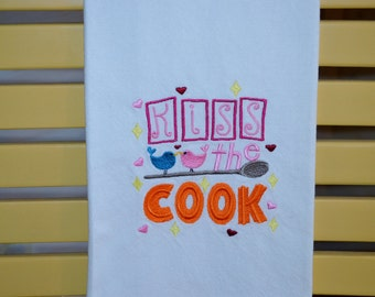 Embroidered Towel, Kiss the Cook, Shipping Included!