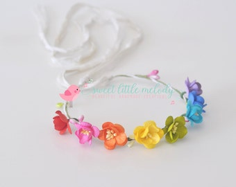 Rainbow Flower Crown, Rainbow Flower Headband Tieback Flowergirl Headband Flower Crown Baby Headband Rainbow baby Prop Rainbow baby