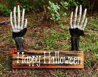 Happy Halloween wooden decor sign