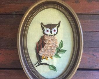 Needlepoint Owl Wall Hanging / 1970's Wall Art