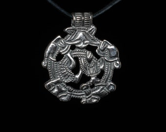 Borre Style Viking Pendant, Archeological Replica, sterling silver or silver-plated brass ..... Gripping Beast, Birka, Nordic, Zoomorphic