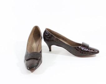 Vintage Brown Faux Crocodile High Heels - US Size 9 - 1970s - With Original Box -  Vintage Shoes - Leather Pumps  JH