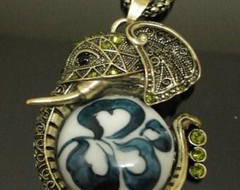30% Sale elephant necklace china necklace elephant china necklace green crystal china necklace crystal necklace porcelain necklace green cry