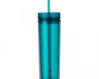 Aqua Skinny Tumbler with Straw- 16 oz.