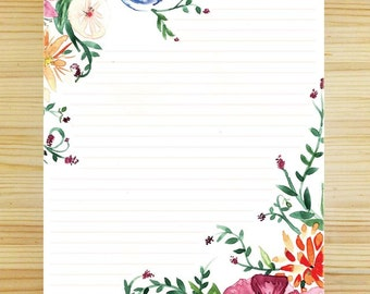 Watercolor Floral Stationery - Lined - 4x5 Inches