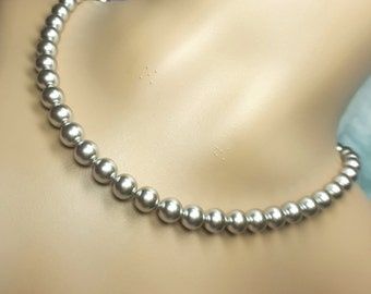 Light Grey Necklace Bridesmaid, Silver Wedding Jewerlry, Grey Smoke Silver Theme Wedding, Swarovski Pearls Bridal, Single Strand Necklace